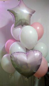 """Композиція """"Біло - Рожева"""" Ціна 430грн. В набір входить: -2шт. фольговані 18"""" кульки -10шт. латексні біло-рожеві"""