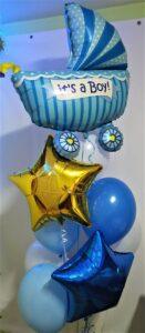 """Композиція """"Для хлопчика"""" Ціна 500грн. В набір входить: -2шт. фольговані 18"""" кульки -6шт. кульки біло-синьо-голубі -1шт. фольгована коляска"""