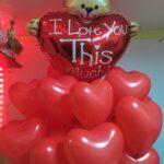 """Композиція """"Ведмедик I Love"""" Ціна 440грн. В набір входить: -1шт. фольговане серце 95см -18шт. латексні червоні серця"""