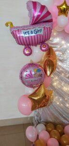 """Композиція """"Для дівчинки"""" Ціна 540грн. В набір входить: -3шт. фольговані 18"""" кульки -5шт. латексні біло-рожеві  -2шт. фольгована коляска"""